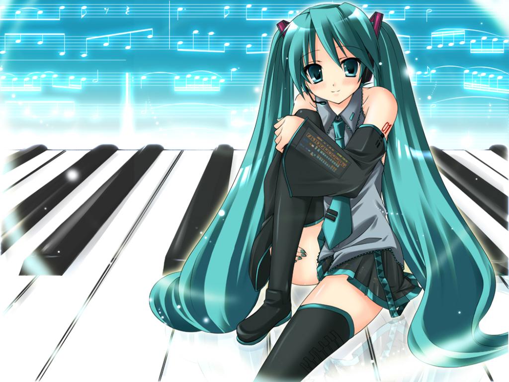 aqua_eyes aqua_hair boots hatsune_miku hayashi_sakura headphones instrument long_hair microphone music piano skirt tattoo thighhighs tie twintails vocaloid