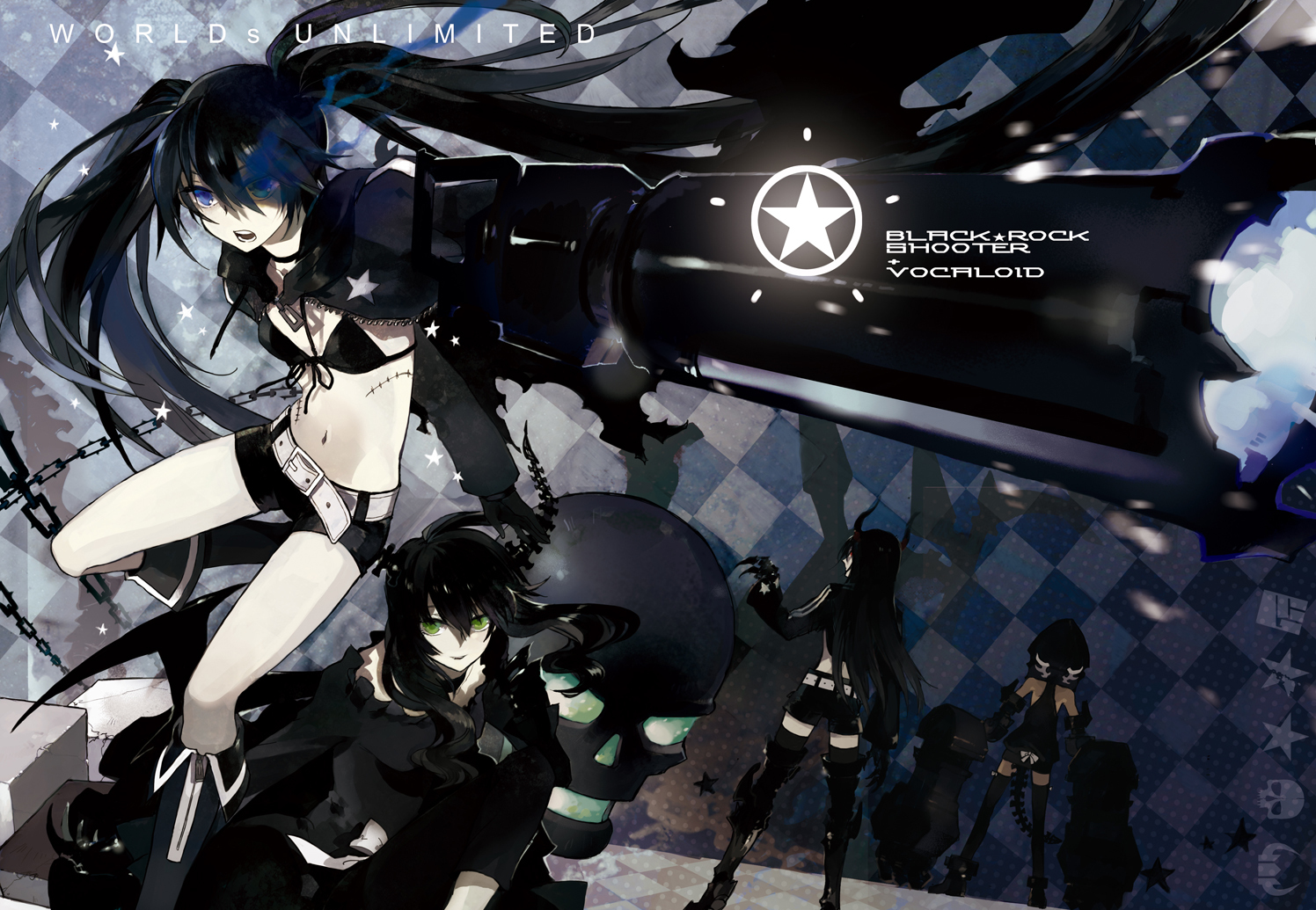 black_rock_shooter chain gun irino_saya koutari_yuu kuroi_mato skull starshadowmagician takanashi_yomi weapon