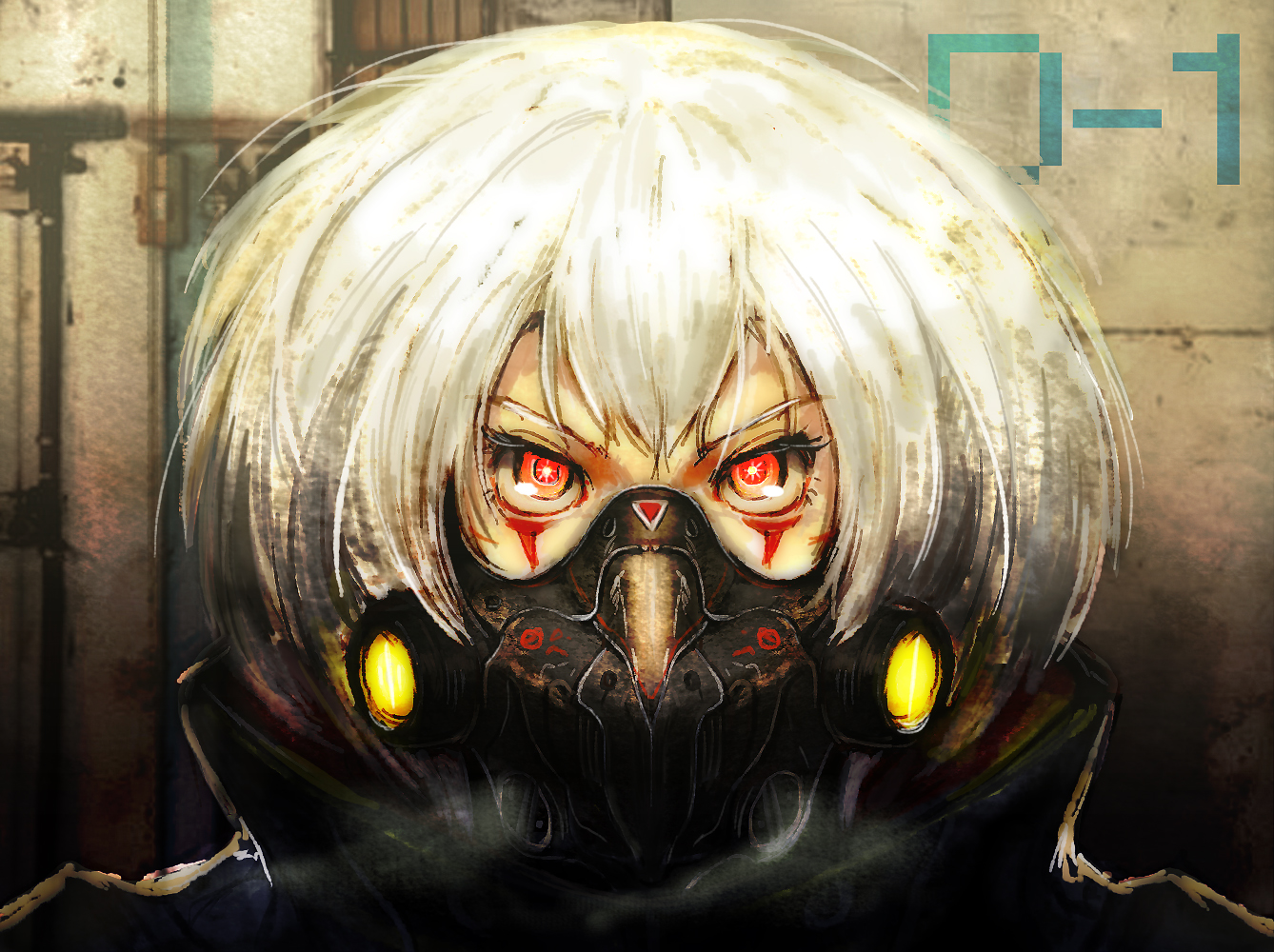 close mask red_eyes tagme_(artist) white_hair