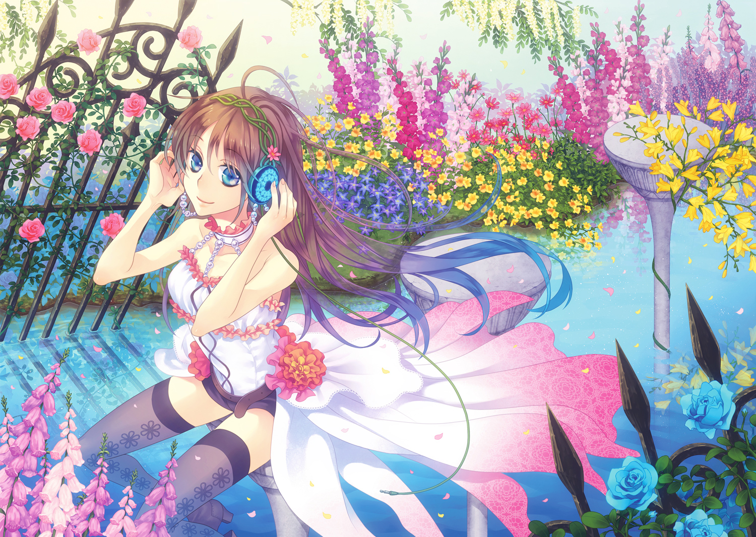 blue_eyes brown_hair choker flowers headphones original rose shorts thighhighs water yamyom