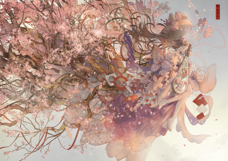 cherry_blossoms flowers instrument japanese_clothes kimono nanahara_shie original petals ribbons