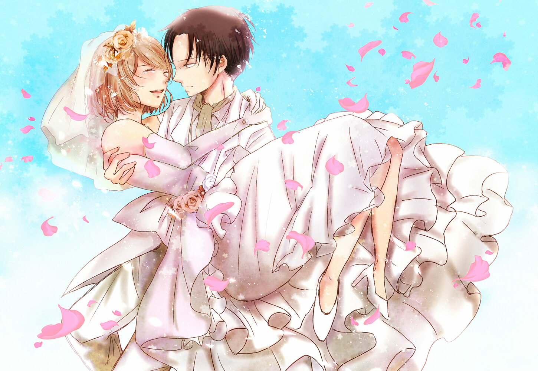 blush brown_hair dress elbow_gloves gloves headdress levi_ackerman petals petra_ral ren_(palette) shingeki_no_kyojin short_hair wedding wedding_attire