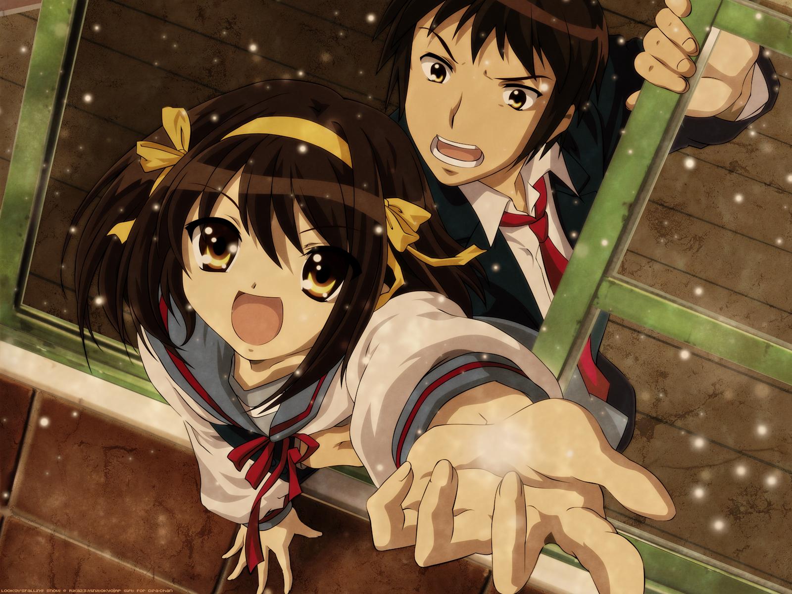 bow brown_eyes brown_hair headband kyon male ribbons school_uniform short_hair snow suzumiya_haruhi suzumiya_haruhi_no_yuutsu tie