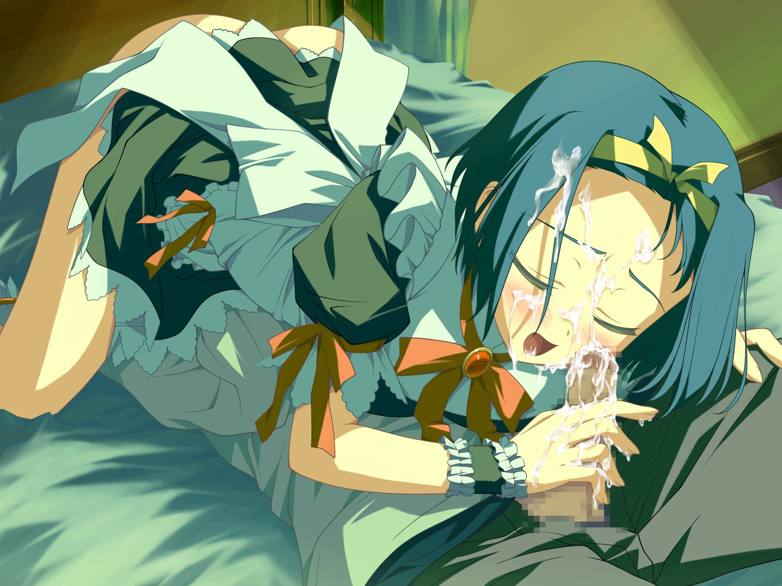 apron ass blue_hair blush bow censored cum headband maid penis ribbons sofiace_raphonitte wiz_anniversary wristwear