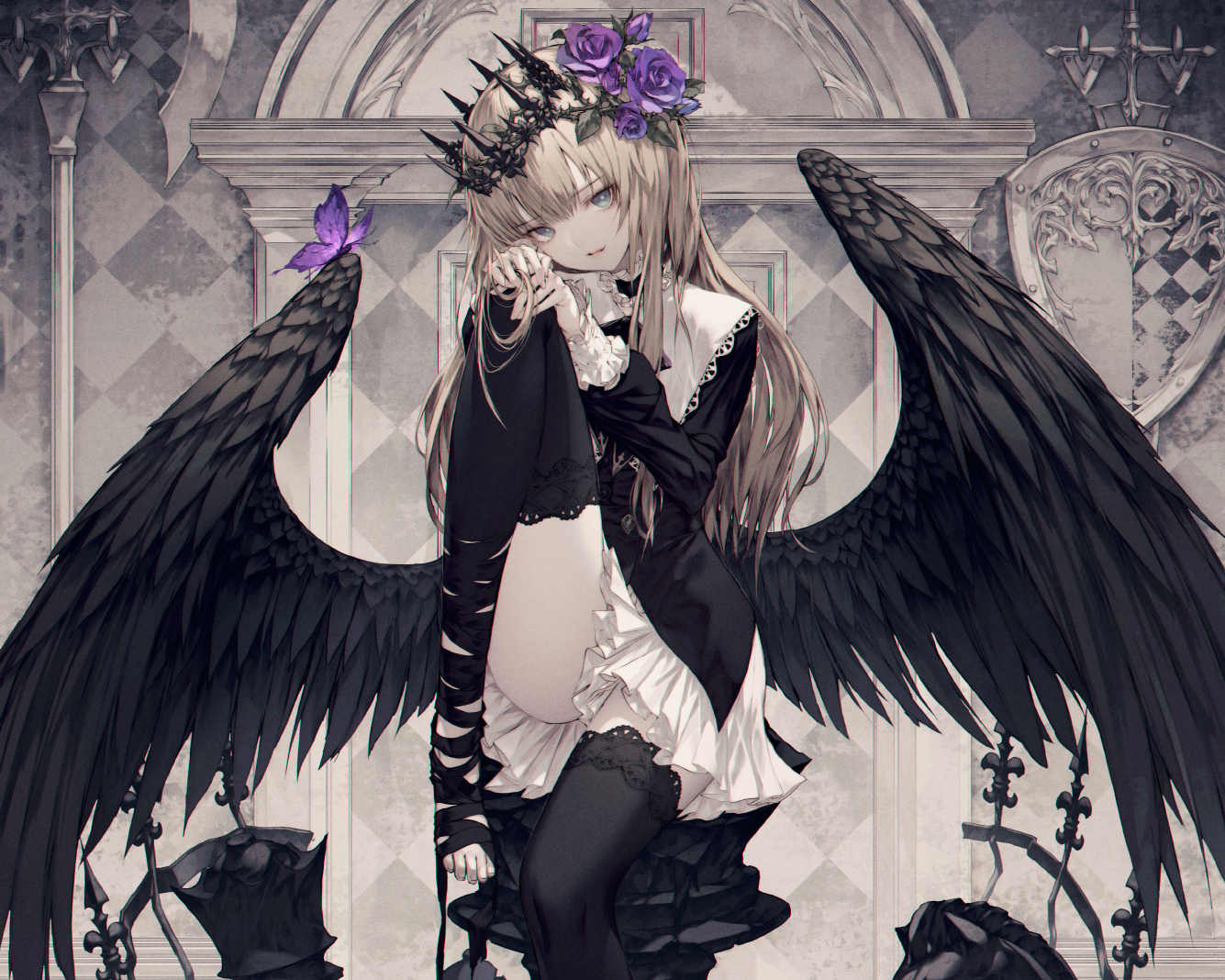 blonde_hair blue_eyes butterfly cropped crown flowers gothic long_hair original ribbons rose skirt thighhighs wanke wings