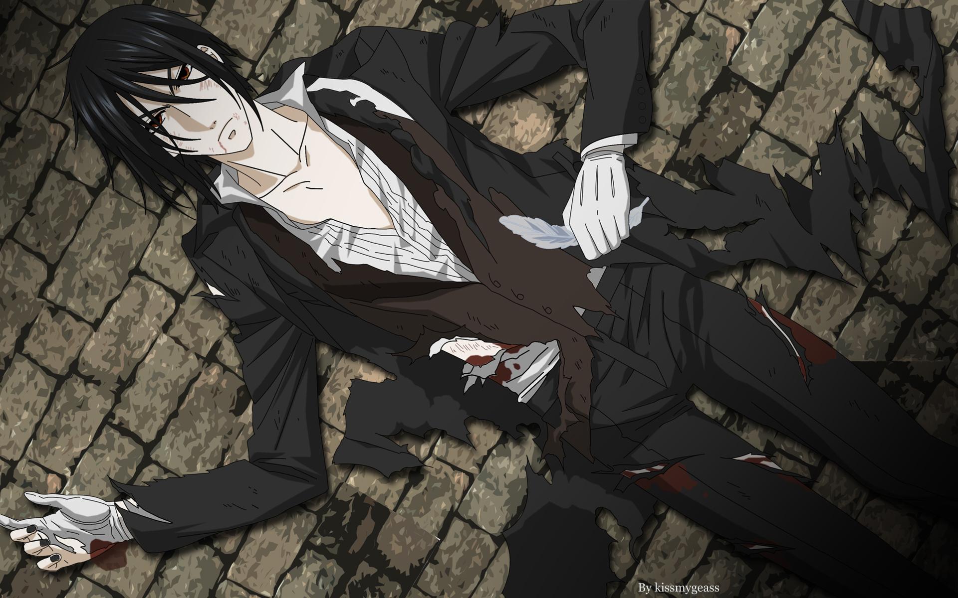 all_male black_hair blood feathers gloves kuroshitsuji male red_eyes sebastian_michaelis