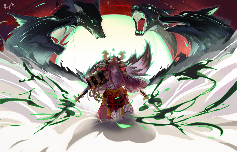 aerysky all_male animal armor brown_hair katana long_hair male onmyouji samurai signed sword weapon wolf yamakaze_(onmyouji)