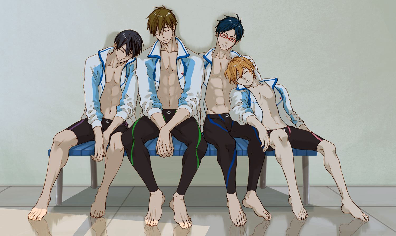 all_male barefoot black_hair blue_hair brown_hair free! glasses hazuki_nagisa katou_setsuko male nanase_haruka ryugazaki_rei short_hair sleeping swimsuit tachibana_makoto