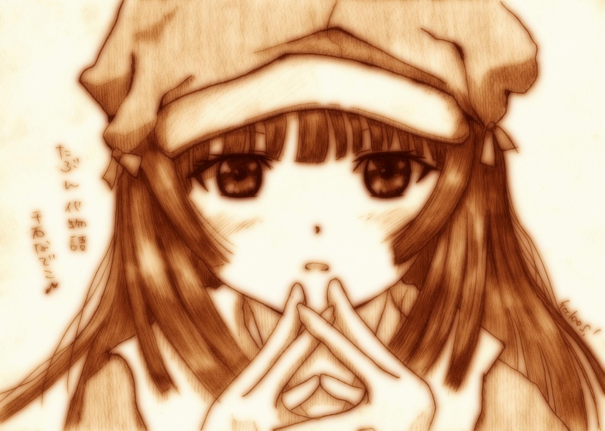 bakemonogatari close godees hat monochrome monogatari_(series) sengoku_nadeko