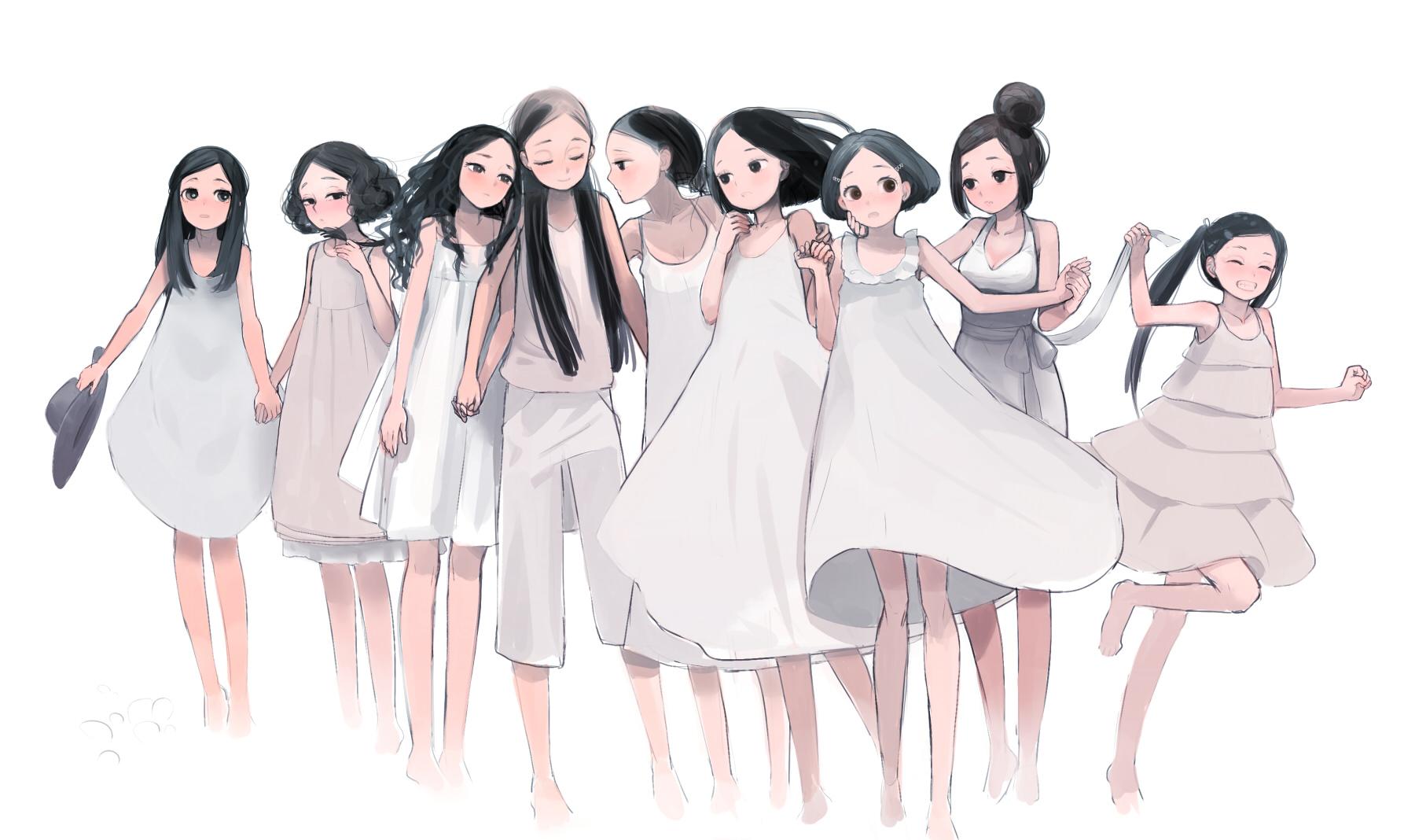 black_eyes black_hair blush dress felt long_hair original short_hair white