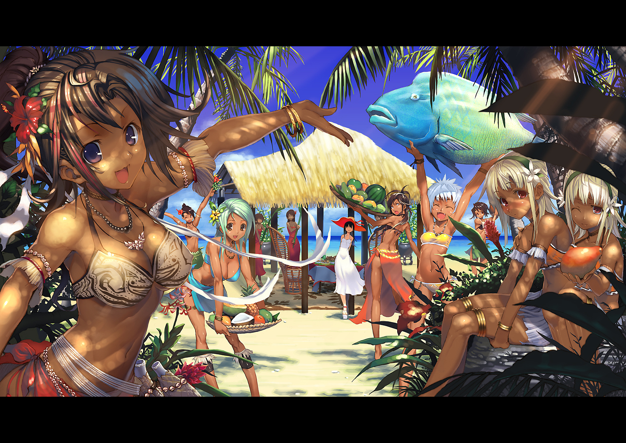 animal barefoot beach bikini blue_eyes blue_hair breasts brown_hair cleavage dress fish flowers food fruit harem long_hair masa-koba navel original photoshop red_eyes ribbons swimsuit tree white_hair