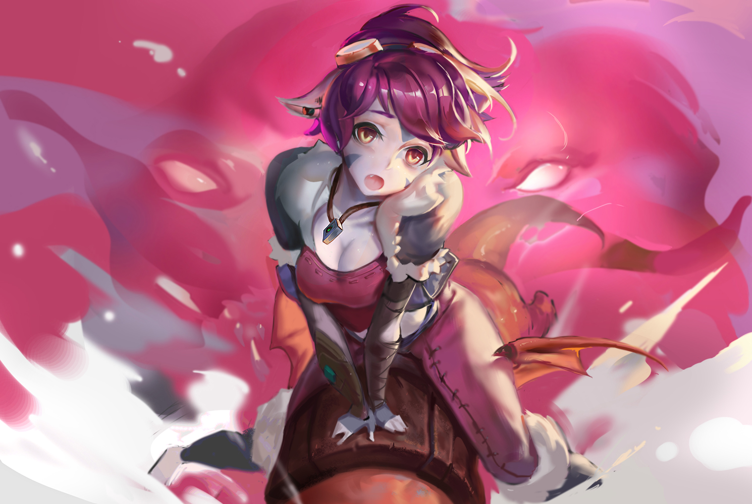 anthropomorphism breasts cleavage fang goggles league_of_legends necklace orange_eyes pointed_ears ponytail purple_hair rabbit_(tukenitian) tristana yordle