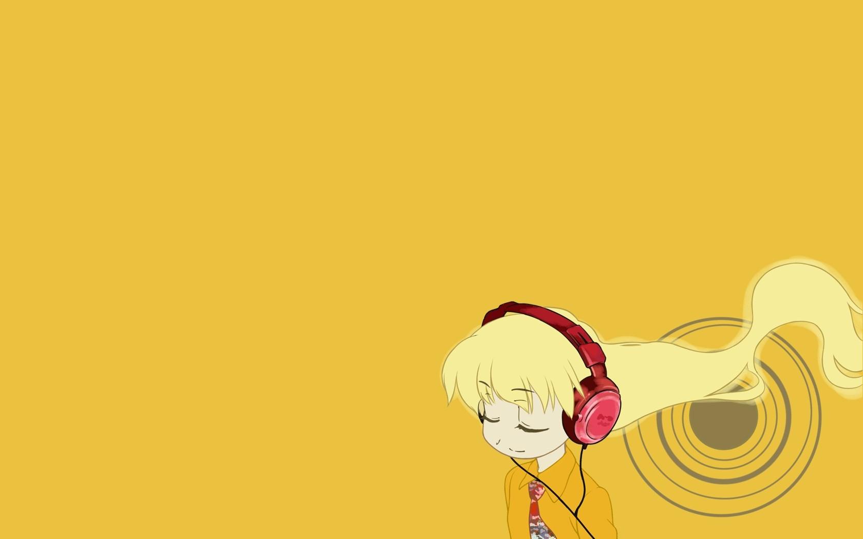 headphones pani_poni_dash rebecca_miyamoto yellow