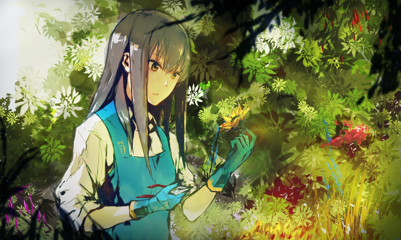 apron flowers gloves gray_hair green green_eyes idolmaster idolmaster_cinderella_girls long_hair lowlight_kirilenko shibuya_rin sunflower