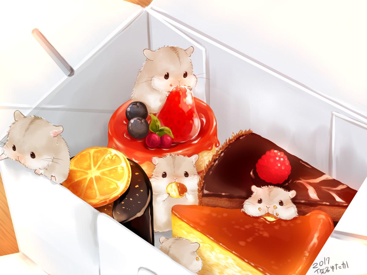 animal candy chocolate food fruit nobody orange_(fruit) original signed strawberry yutaka_kana