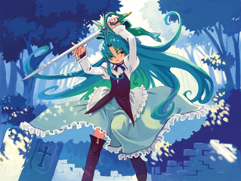 dress fia_(riviera) green_eyes green_hair riviera