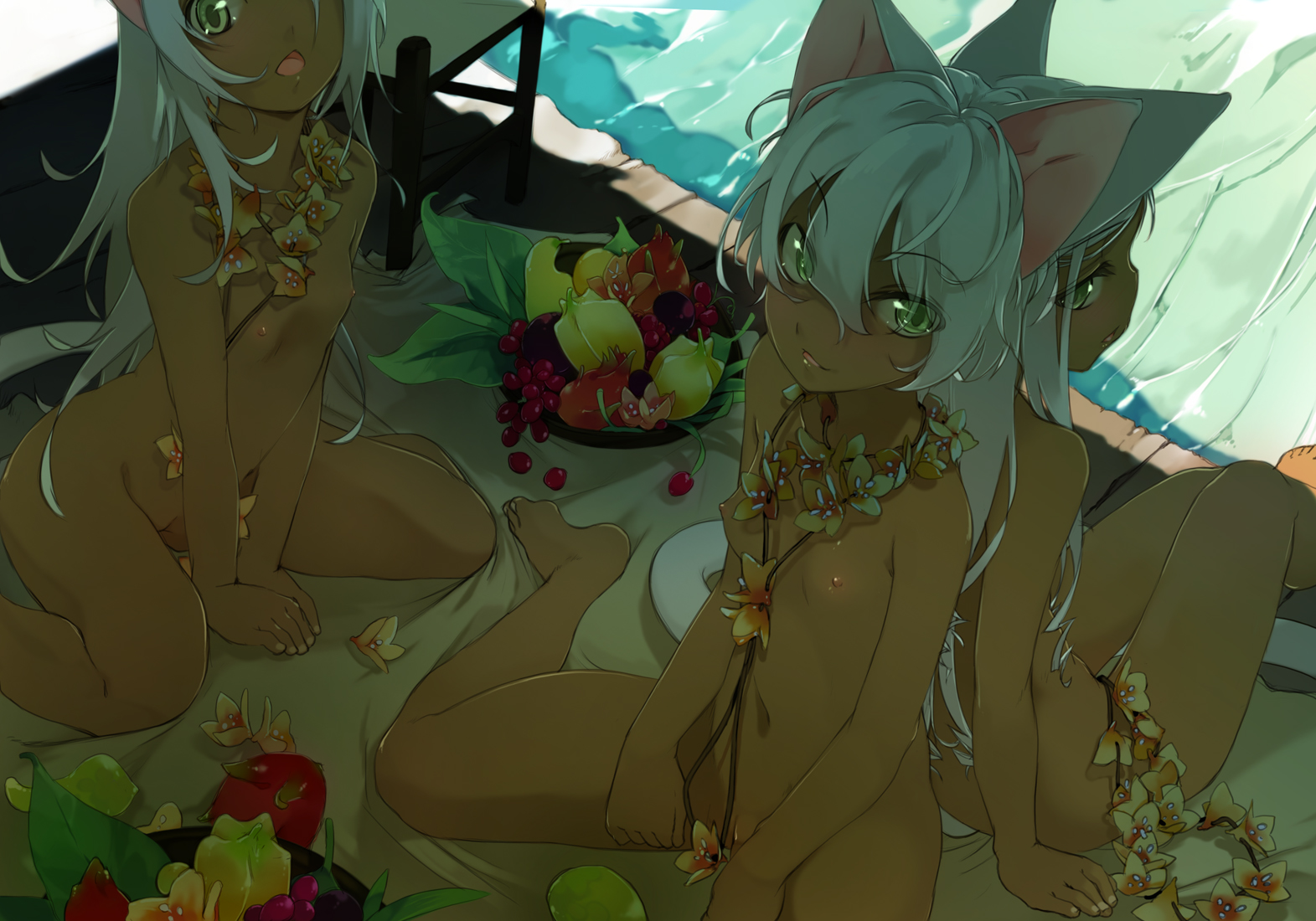 animal_ears breasts dark_skin flat_chest food green_eyes long_hair maruku nipples nude original shade tail white_hair