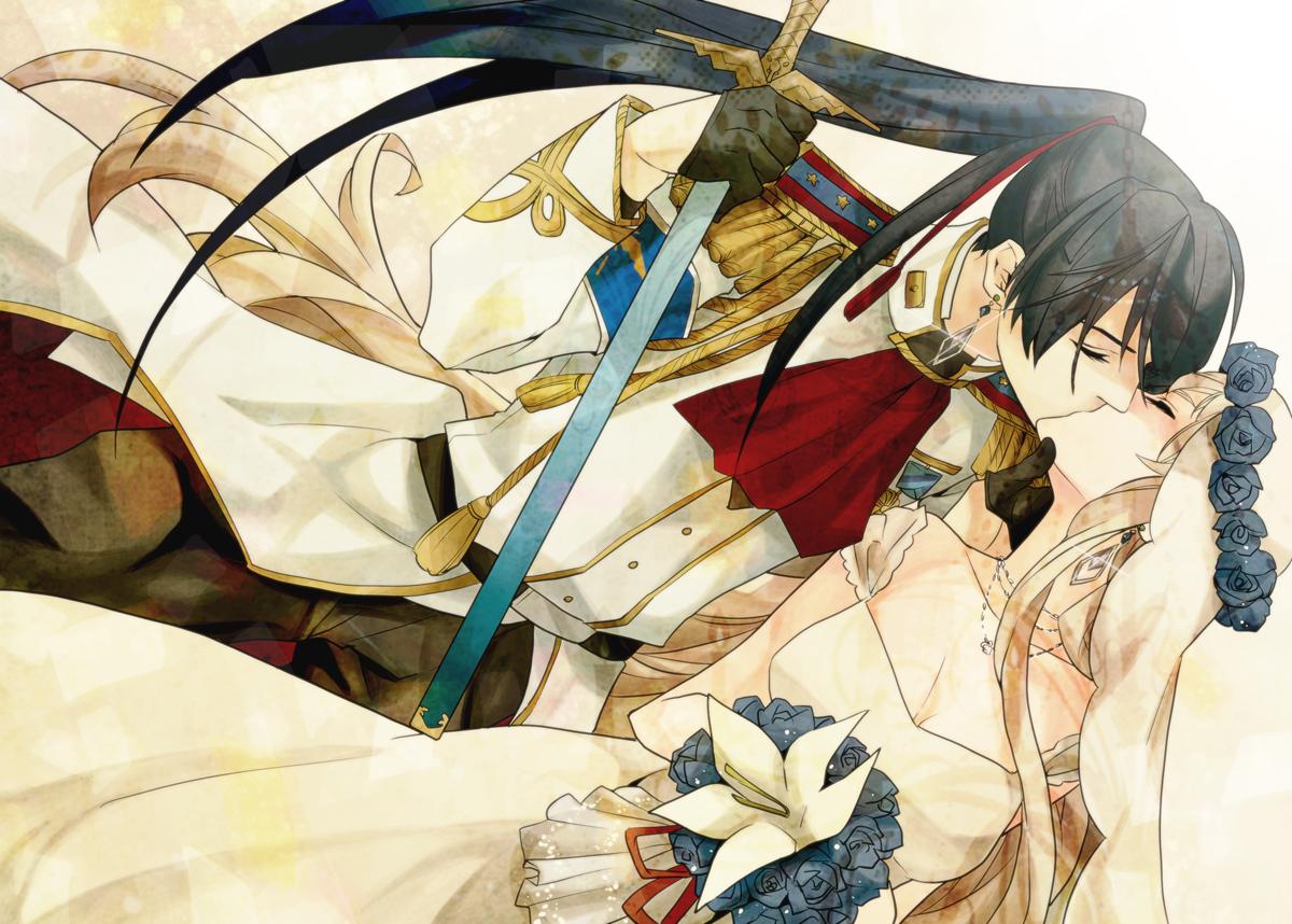 dress flowers hanazawa kiss macross macross_frontier male saotome_alto sheryl_nome sword uniform weapon wedding wedding_attire