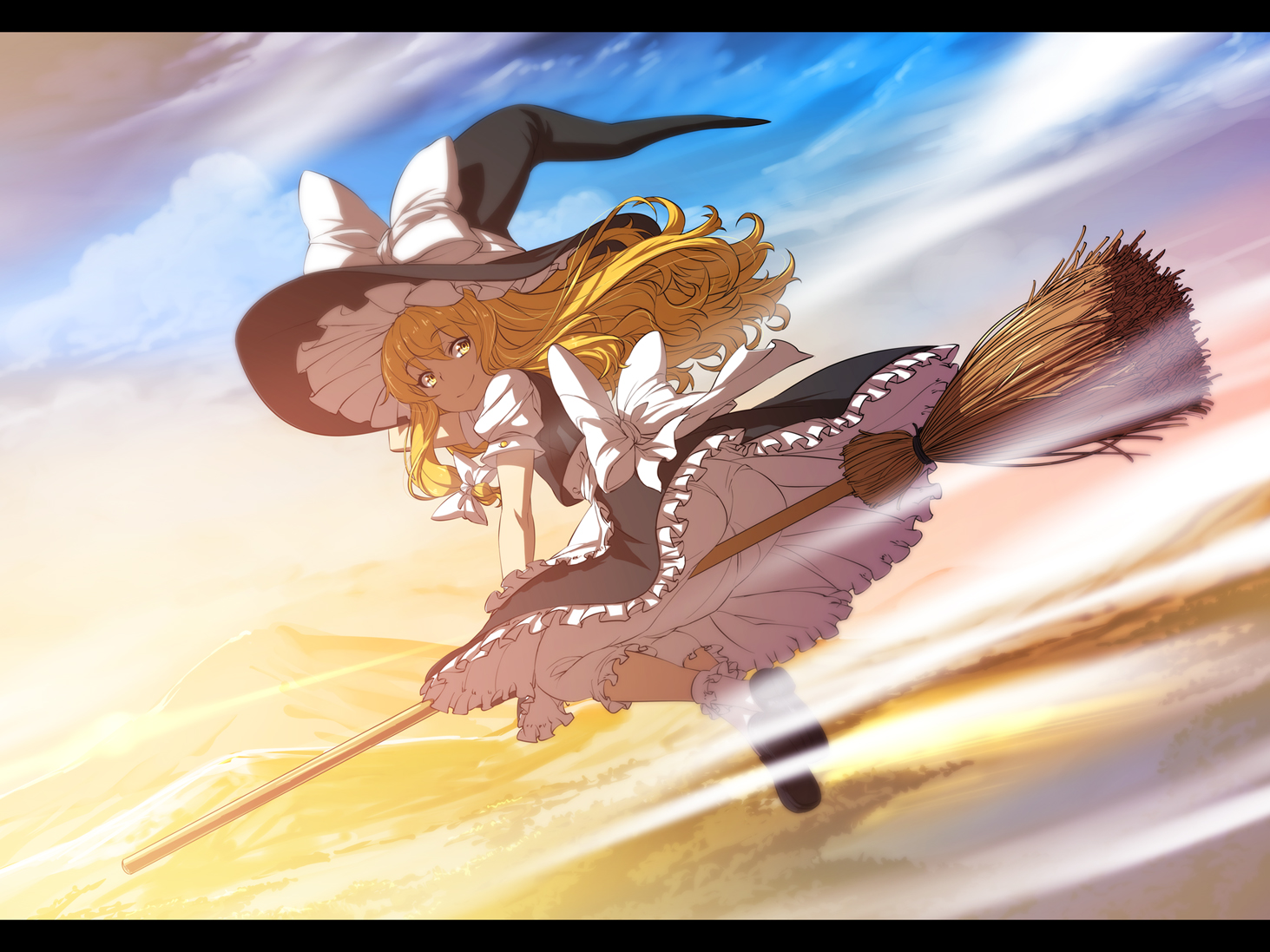 blonde_hair bloomers bow clouds kirisame_marisa long_hair nekomamire sky touhou witch witch_hat