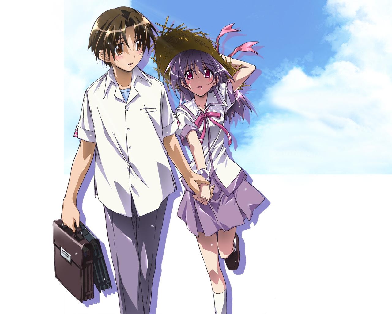 asaba_naoyuki blush brown_eyes brown_hair clouds iriya_kana iriya_no_sora_ufo_no_natsu purple_hair red_eyes school_uniform short_hair