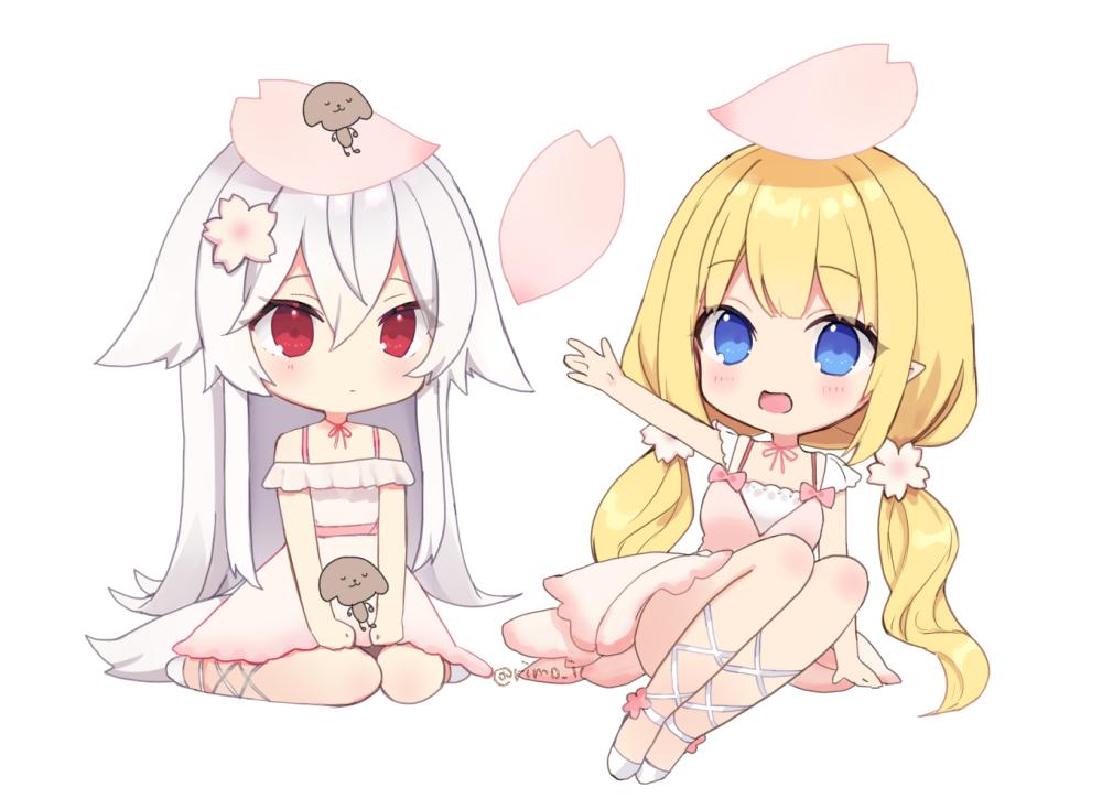 2girls blonde_hair blue_eyes chibi dress long_hair original petals pointed_ears red_eyes rimo twintails white white_hair