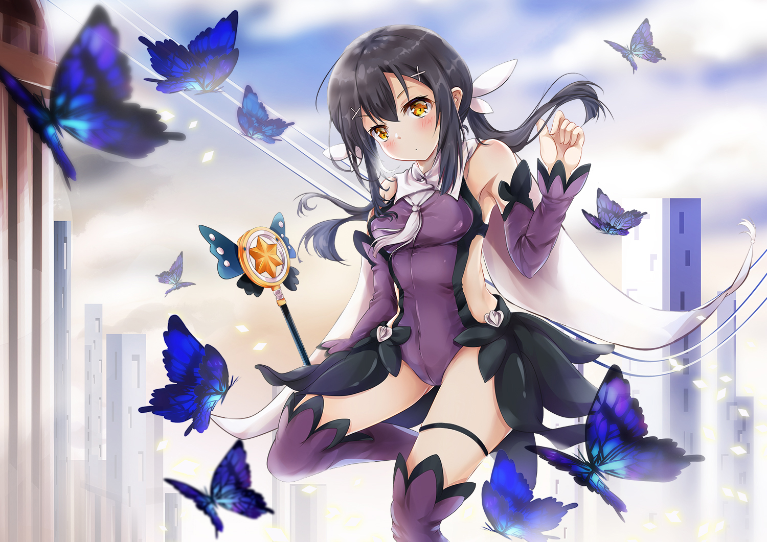 black_hair blush bodysuit breasts butterfly fate/kaleid_liner_prisma_illya fate_(series) garter long_hair miyu_edelfelt mutang orange_eyes skintight thighhighs wand