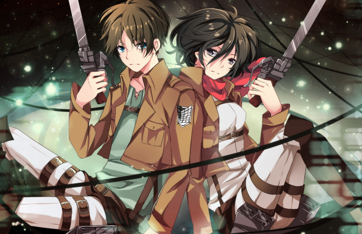 Eren jaeger mikasa ackerman shingeki no kyojin squadra anime - Eren and mikasa wallpaper ...