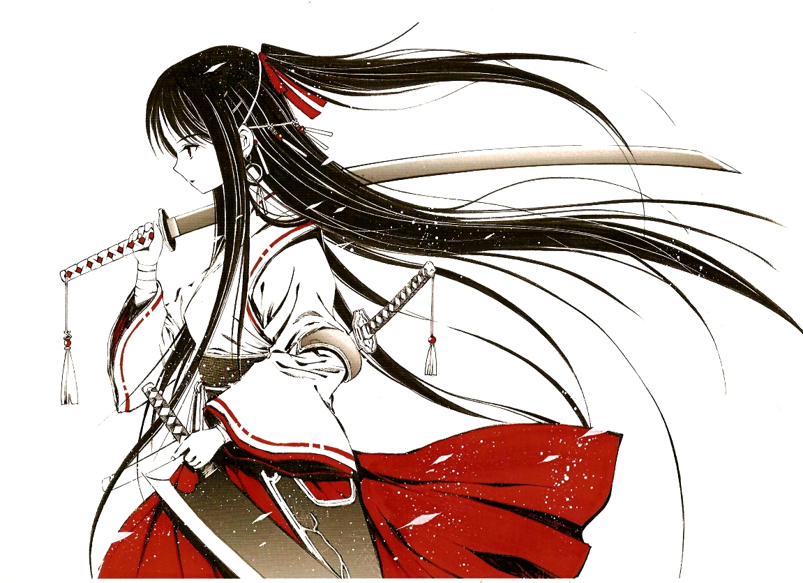black_hair japanese_clothes jpeg_artifacts long_hair pixiv_fantasia ponytail sword weapon