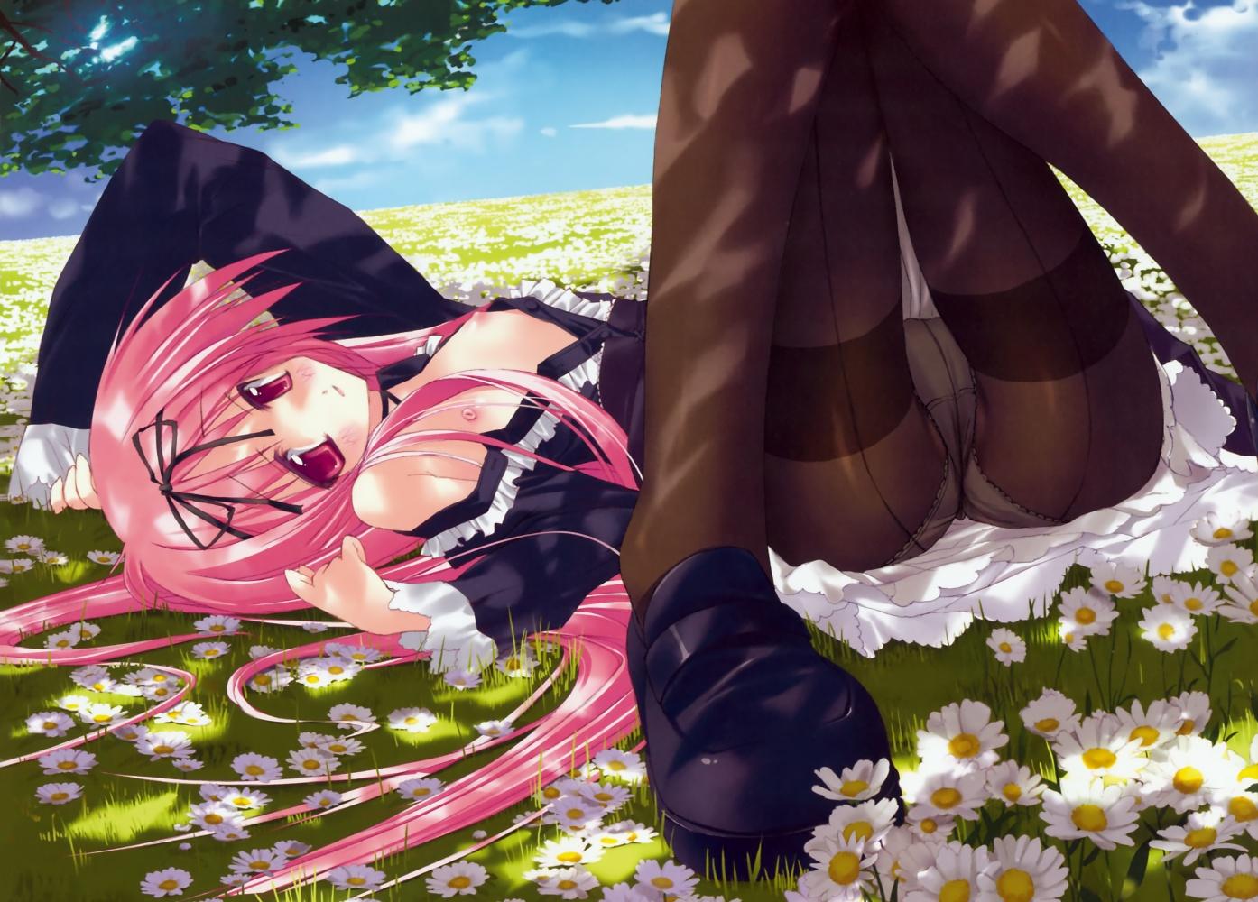 breasts garden_(galge) himemiya_ruri nipples open_shirt panties pantyhose pink_hair skirt sumaki_shungo underwear upskirt