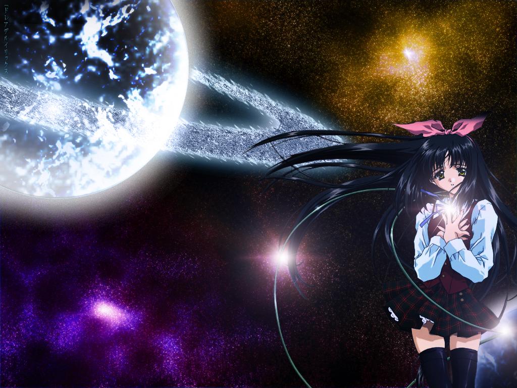 black_hair kao_no_nai_tsuki kuraki_suzuna long_hair ribbons skirt space thighhighs yellow_eyes zettai_ryouiki
