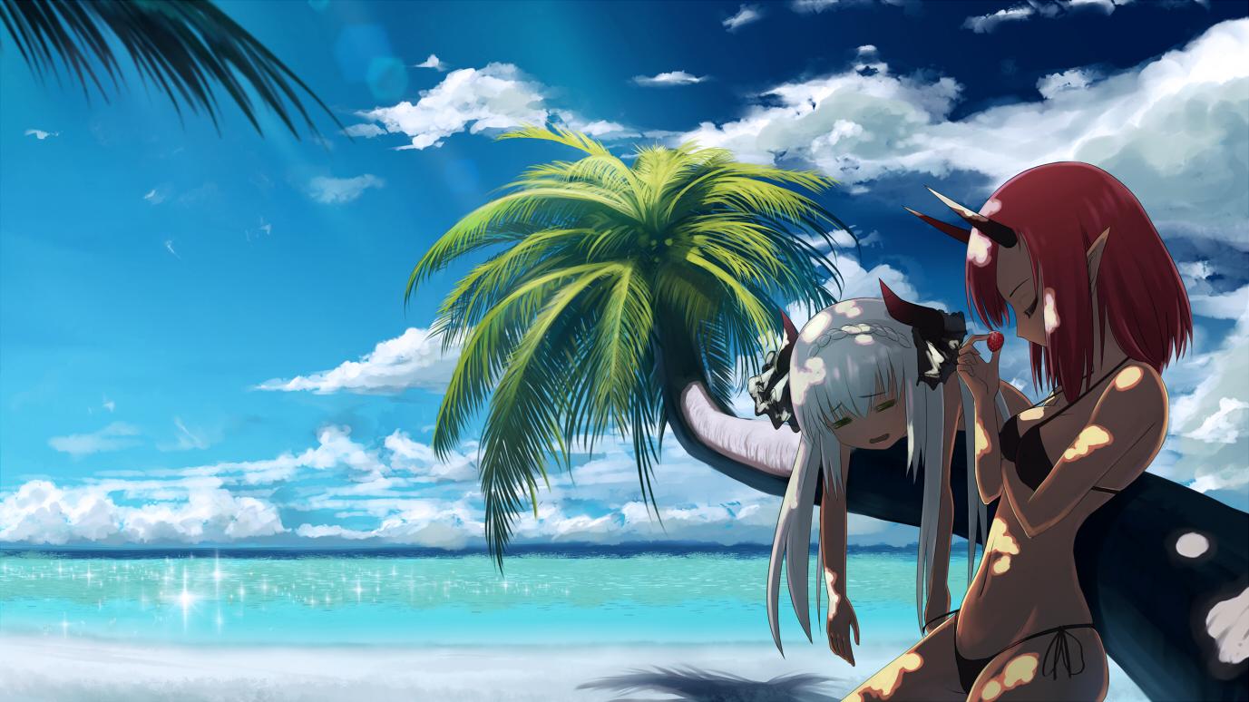 2girls beach bikini food fruit horns long hair navel ...