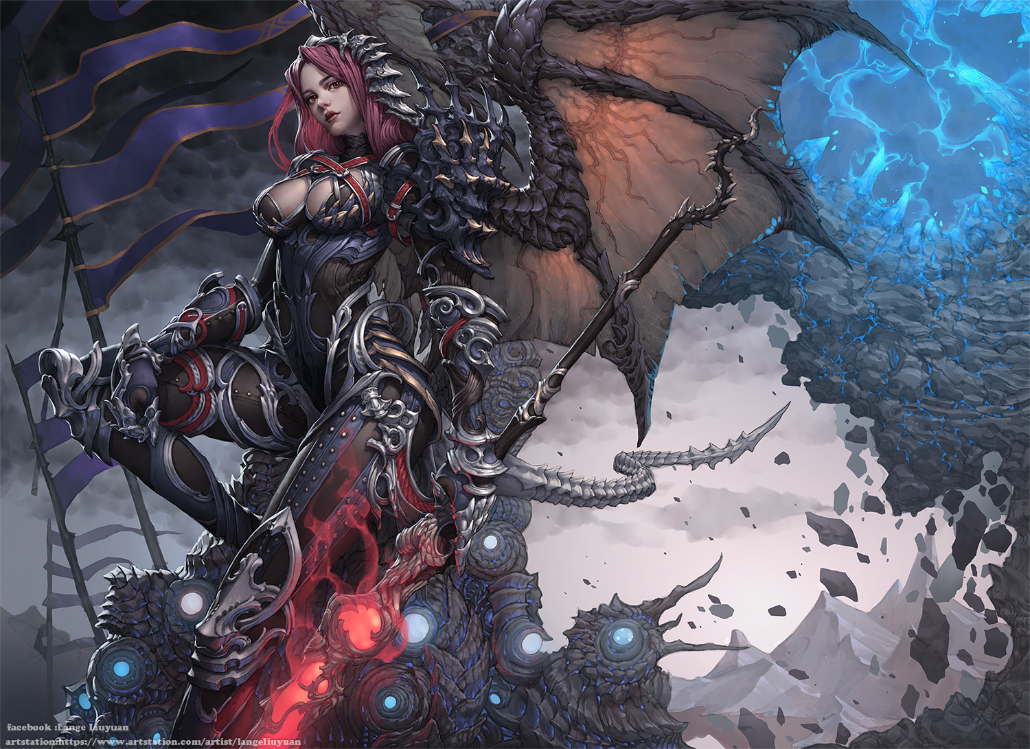 armor bodysuit breasts cleavage clouds fight_for_freedom gloves headdress lange long_hair magic realistic red_eyes red_hair sky spear tail watermark weapon wings