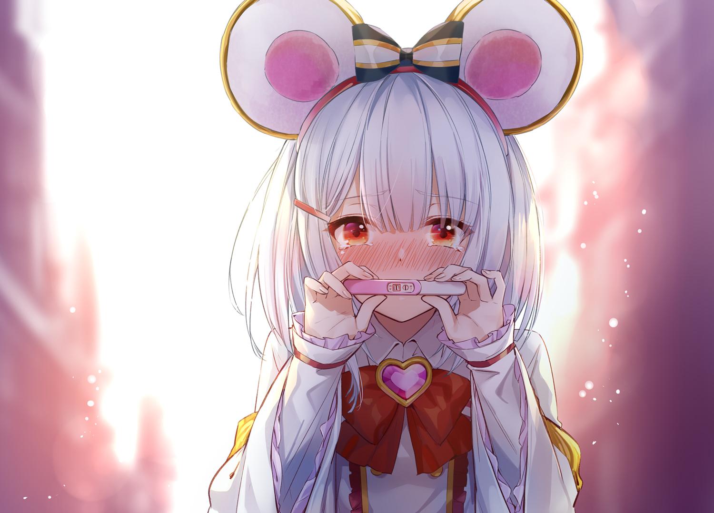 animal_ears blush bow granblue_fantasy headband heart hika_(cross-angel) mousegirl red_eyes tears vikala_(granblue_fantasy) white_hair