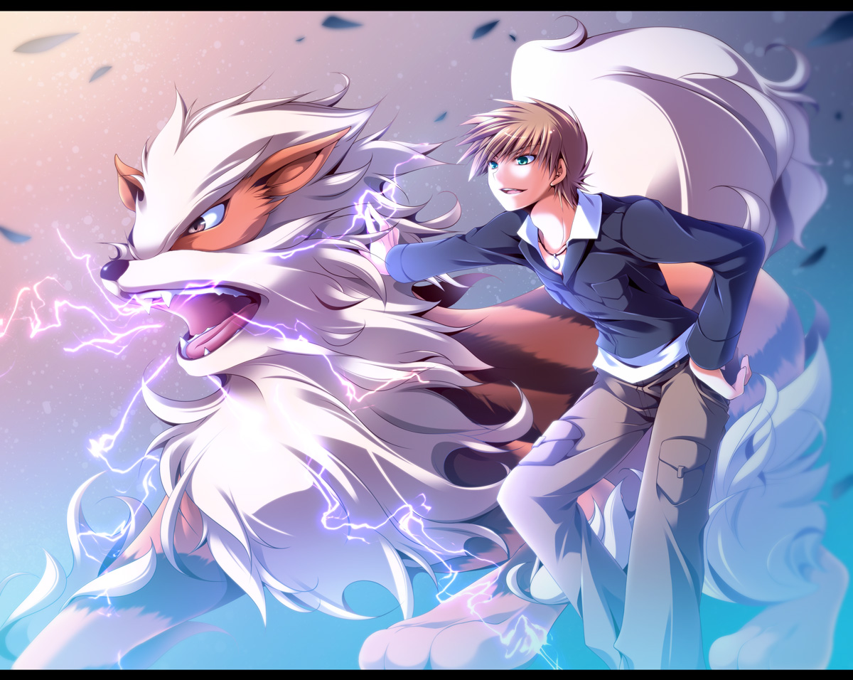 all_male arcanine brown_hair fang green_eyes male mayokichi necklace ookido_green pokemon