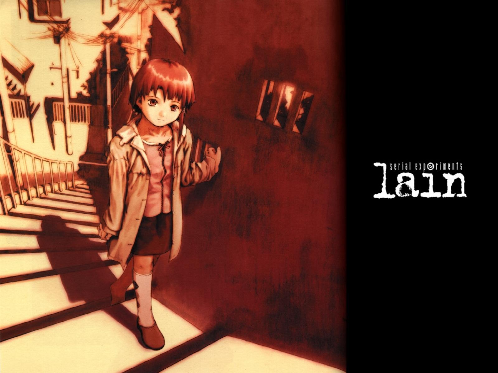 abe_yoshitoshi iwakura_lain kneehighs logo polychromatic scenic serial_experiments_lain short_hair skirt stairs