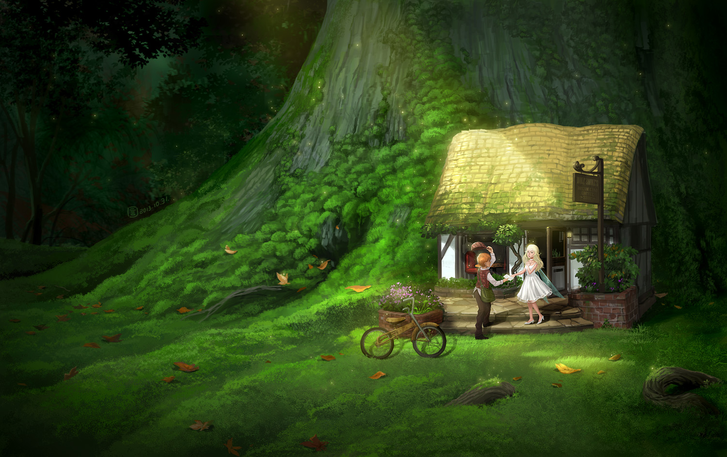 Bicycle Blonde Hair Dress Fairy Flowers Forest Grass Hat