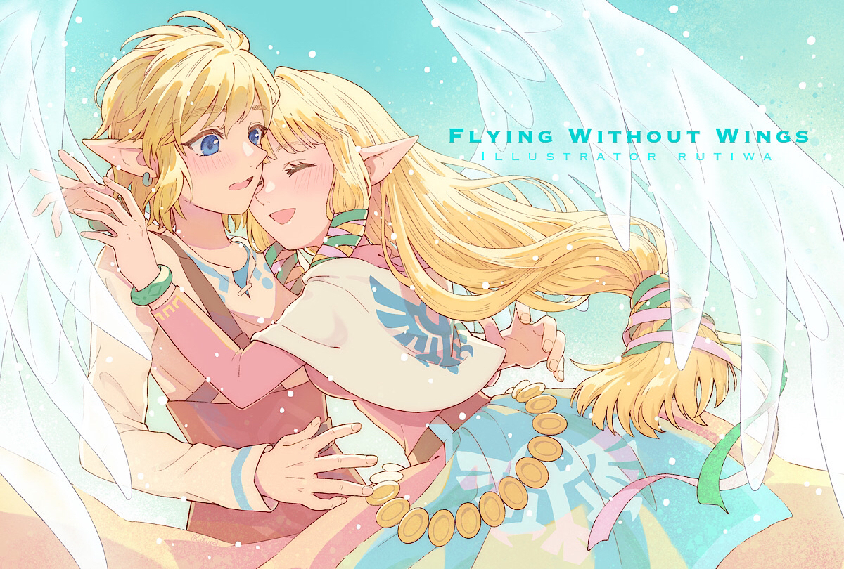 blonde_hair blue_eyes blush cape link_(zelda) long_hair male pointed_ears princess_zelda ribbons rutiwa short_hair the_legend_of_zelda watermark wings wristwear