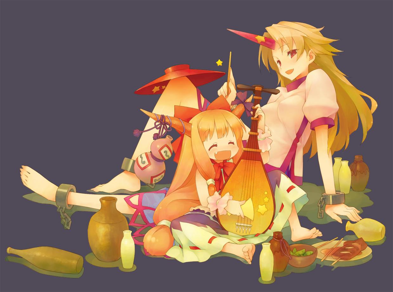 barefoot dress fang gayarou gray horns hoshiguma_yuugi ibuki_suika long_hair orange_hair red_eyes ribbons touhou