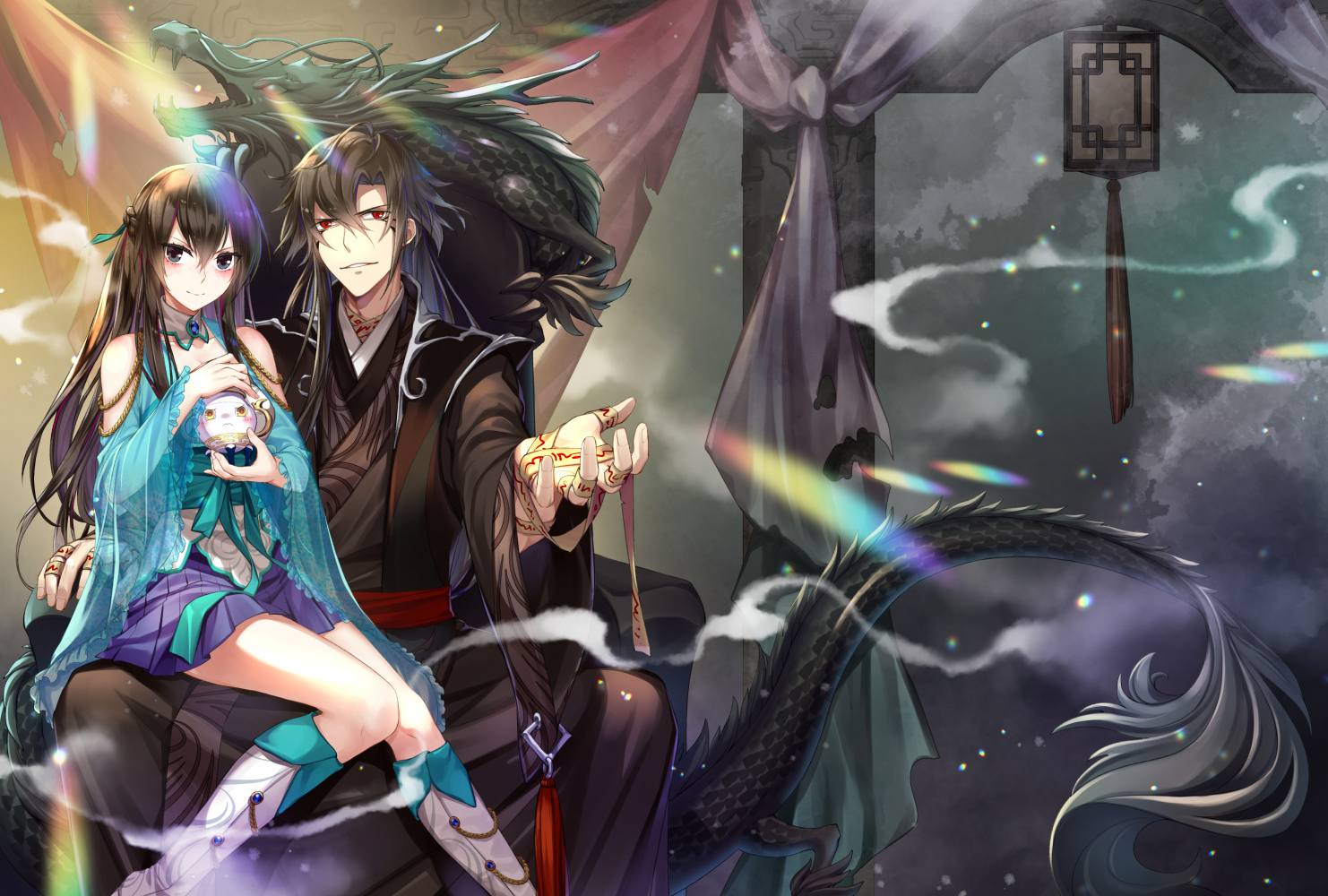 black_hair blue_eyes boots braids jh long_hair male original red_eyes ribbons skirt