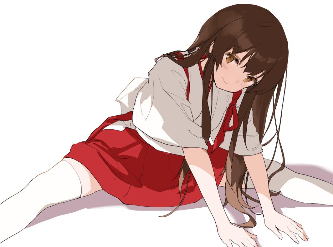 888myrrh888 akagi_(kancolle) anthropomorphism blush brown_eyes brown_hair japanese_clothes kantai_collection long_hair spread_legs thighhighs twintails white