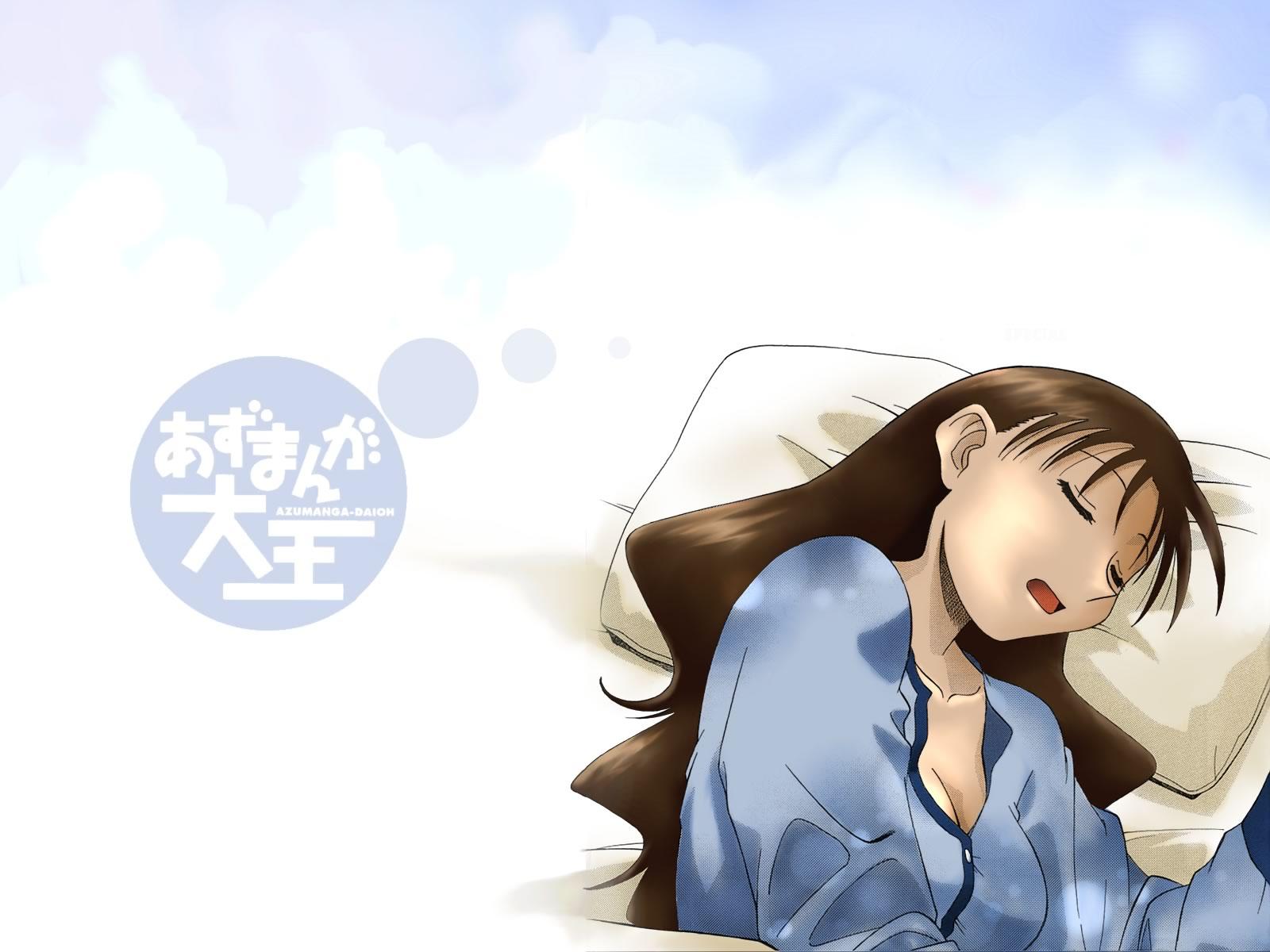 azuma_kiyohiko azumanga_daioh pajamas sleeping tanizaki_yukari