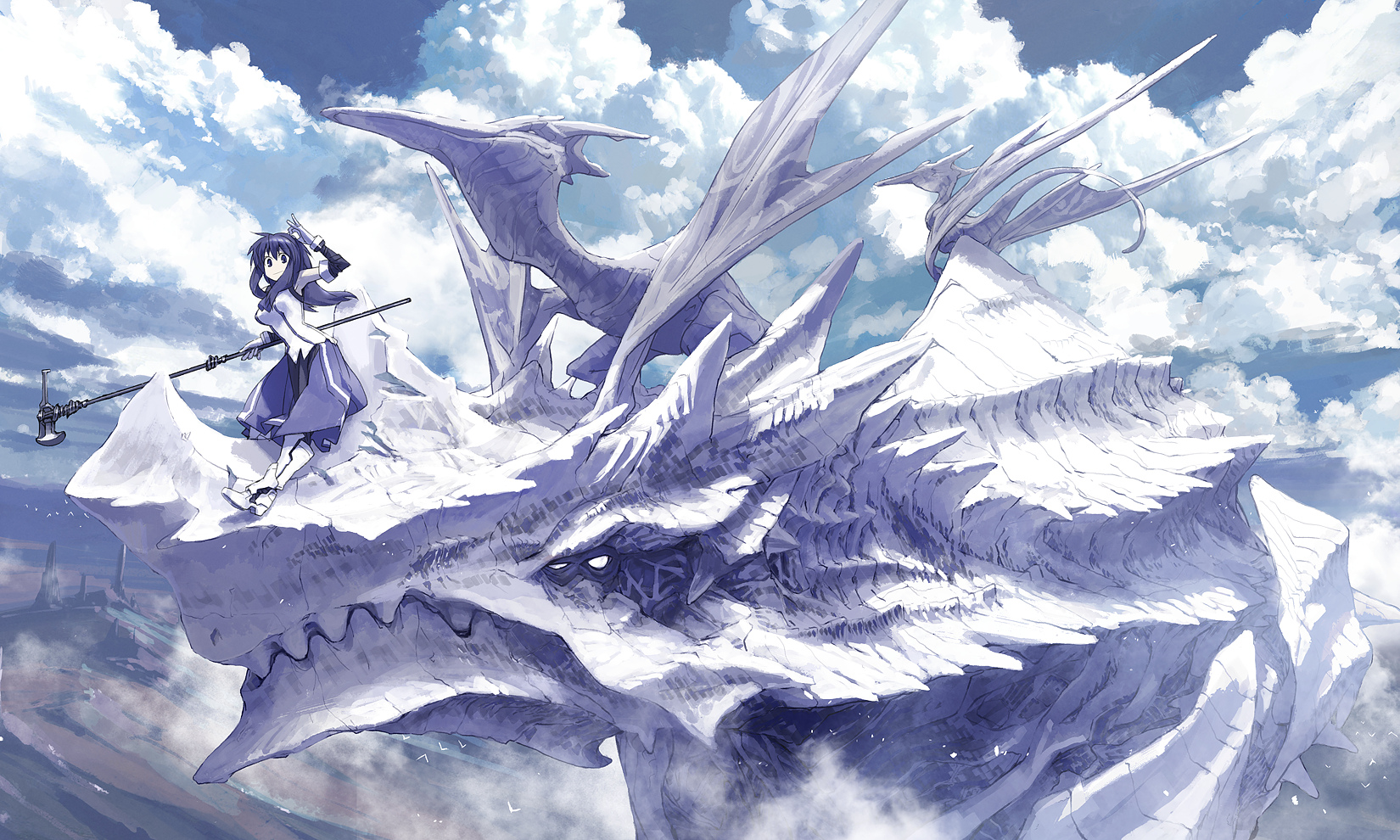 animal armor bird blue_eyes blue_hair clouds dragon masariro original weapon wings