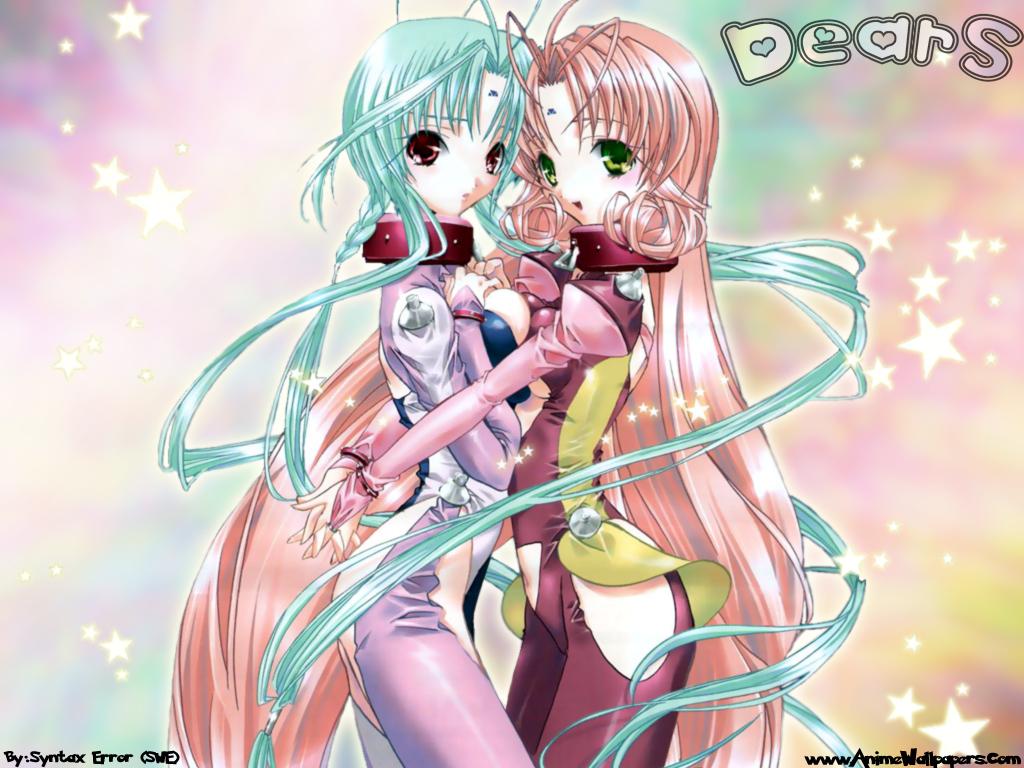 dears green_eyes green_hair long_hair miu_(dears) pink_hair red_eyes ren_(dears)