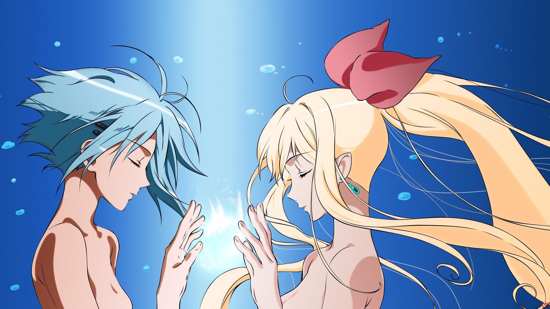 blonde_hair blue_hair long_hair marin miyamori pointed_ears ribbons umi_monogatari vector