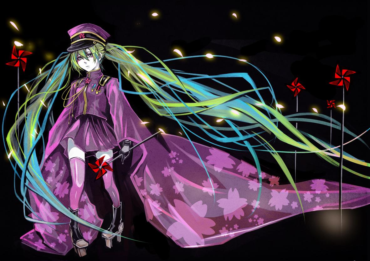 hat hatsune_miku long_hair senbon-zakura_(vocaloid) twintails vocaloid