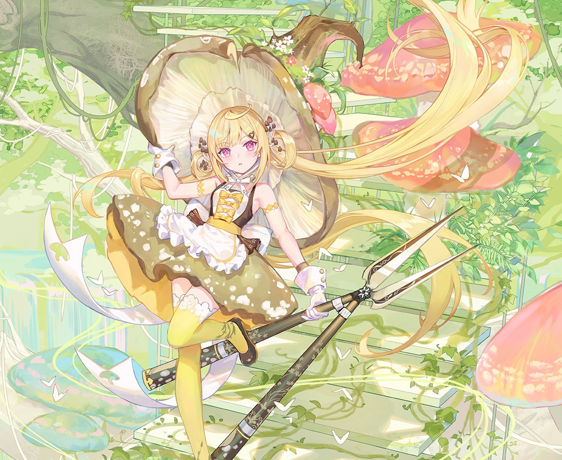 apron atdan blonde_hair bow butterfly cropped dress gloves hat leaves long_hair pink_eyes shian_(synthv) stairs synthesizer_v thighhighs twintails weapon witch_hat zettai_ryouiki