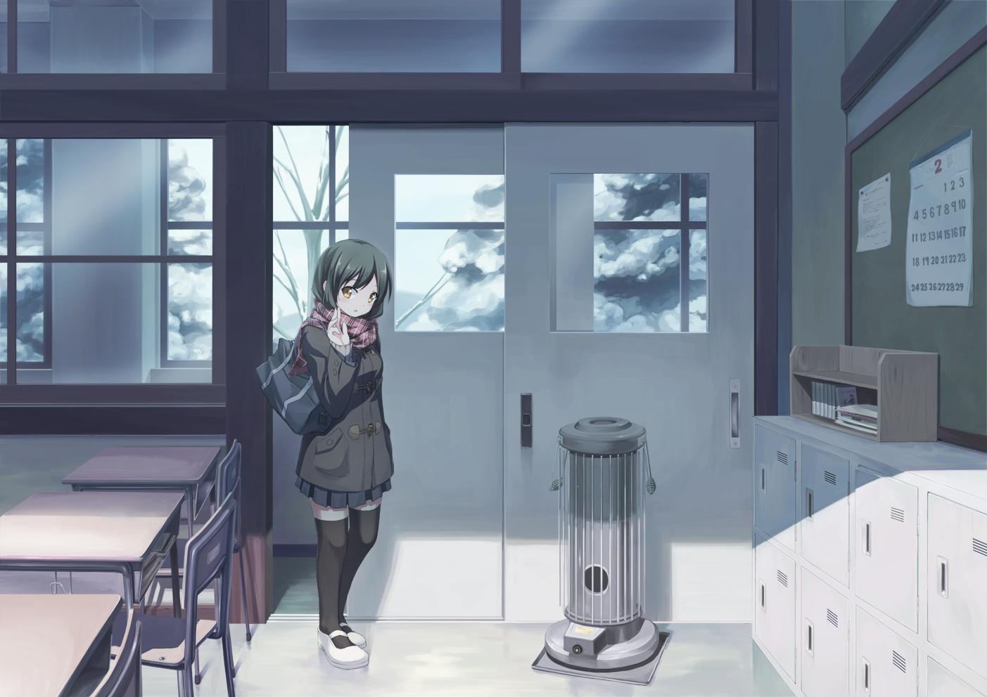 black_hair brown_eyes original scarf school_uniform shinonome_haru snow thighhighs
