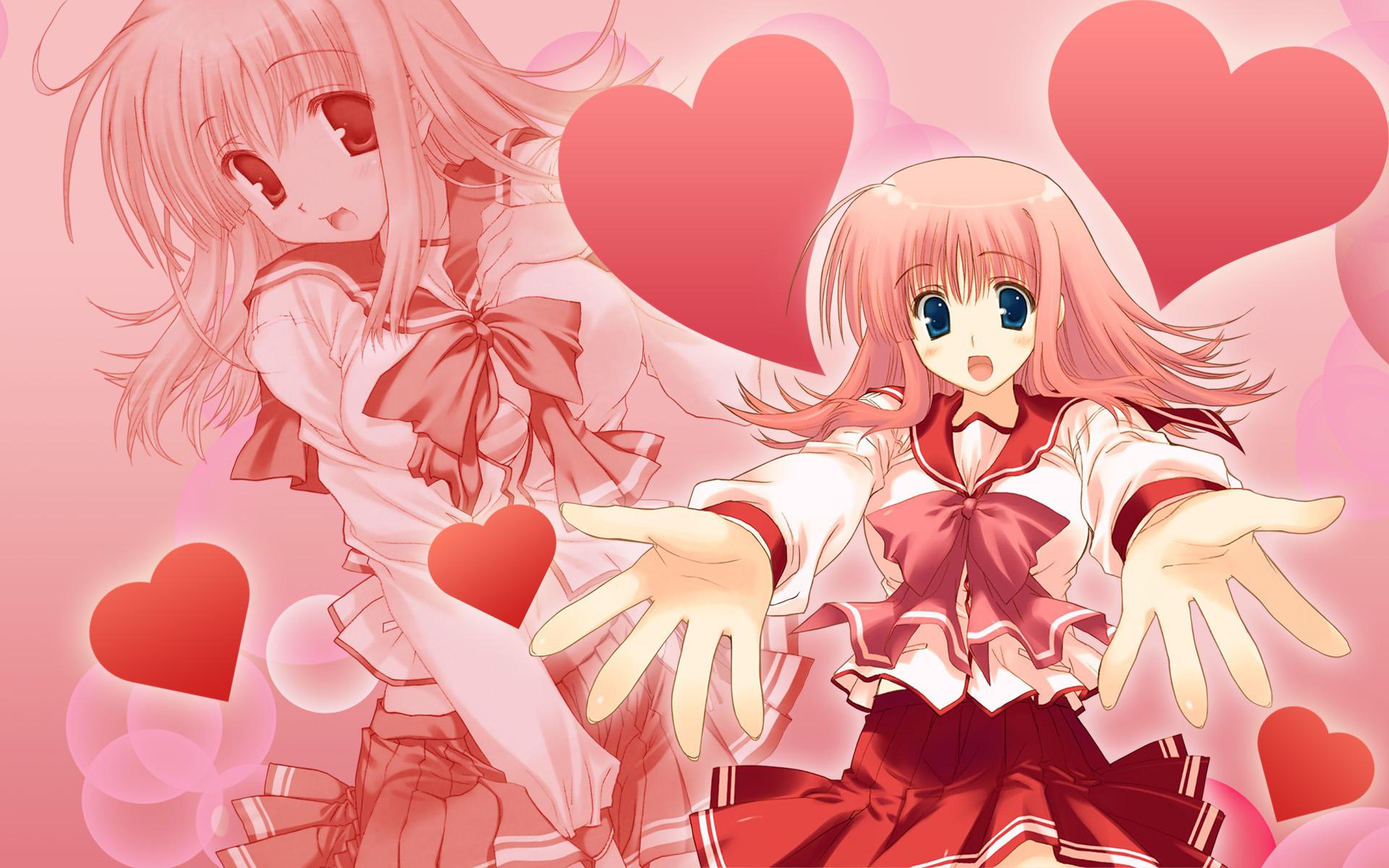 aquaplus kouno_harumi leaf mitsumi_misato pink school_uniform to_heart to_heart_2