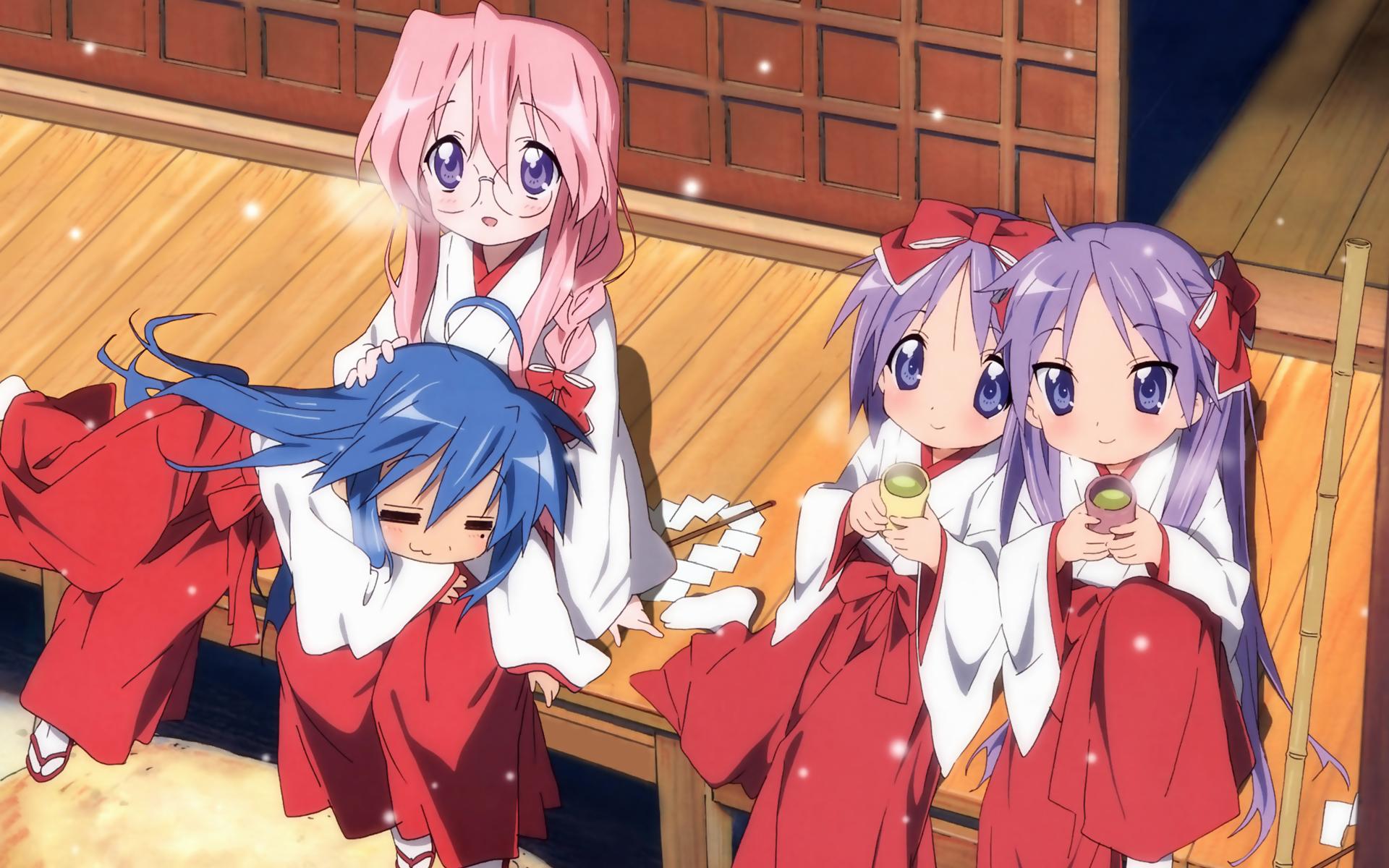 blue_hair hiiragi_kagami hiiragi_tsukasa izumi_konata japanese_clothes lucky_star miko pink_hair purple_eyes purple_hair ribbons takara_miyuki
