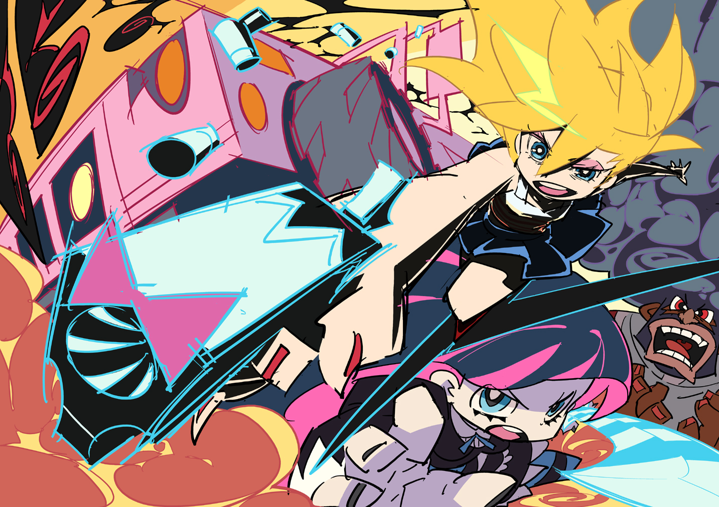 2girls garterbelt_(character) gun panty_&_stocking_with_garterbelt panty_(character) stocking_(character) sword weapon
